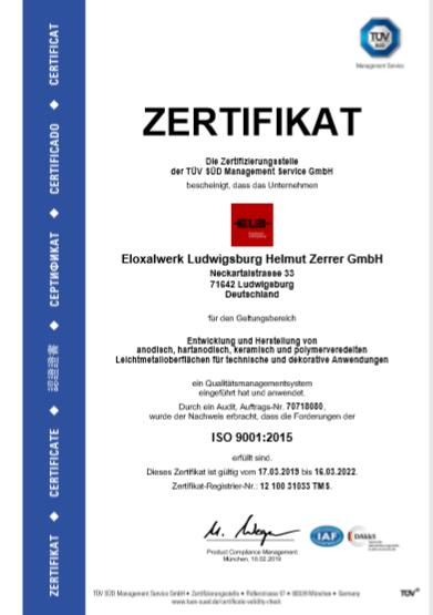 Zertifikat: ISO 9001:2015